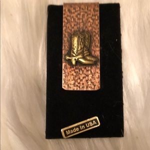 Vintage Brass Cowboys Boots Money Clip Made In USA